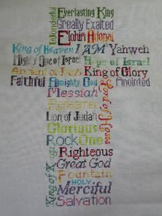 Contemporary Christianity: Post-Evangelic Topics and Theology: The Names of God in Scripture Cross Stitching, Cross Stitch Embroidery, Cross Stitch Designs, Cross Stitch Patterns, Cross Stitch Christmas Ornaments, Christmas Cross, Cross Stitch Tutorial, Church Banners, Names Of God