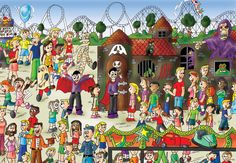 kickstarter, cutes, find the cutes, wheres waldo, illustrations, vincent noot, gorgeous pictures, kids books, educational books, book sales, old-fashioned fun, amusement parks, haunted house