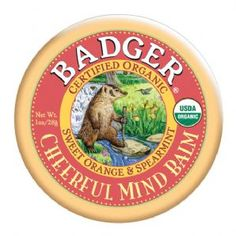 Badger Balm Cheerful Mind Balm, I use this when the kids are grumpy and fighting.  It settles us all down.