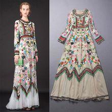 c2150d43cb 2015 nueva primavera verano de diseño de modas mujeres del vestido de manga  larga Vintage étnico