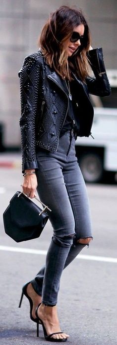 #summer #popular #outfitideas Embellished Black Biker Jacket + Dark Neutrals