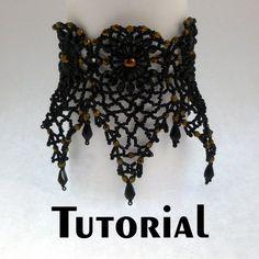 Bead Weaving Tutorials and Components Col Crochet, Crochet Diy, Crochet Collar, Lace Collar, Lace Bracelet, Crochet Bracelet, Beaded Choker, Beaded Lace, Crochet Chocker