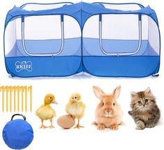 It can accommodate many small animals such as chickens and ducklings. Suitable for small animals to play and rest inside. 🐰[Multiple Usage]: The fence is very suitable for raising chickens, ducklings, rabbit, cats and other small animals. Or used to place small pets who like to play outdoors. It is definitely the best choice for your pet.