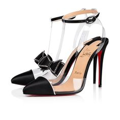 3f0ae3ab025 Christian Louboutin | Naked Bow Satin/PVC 100 mm - Made of black satin and