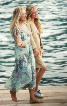 """With Amanda Seyfried in Greece, during the shooting of """"Mamma Mia!"""""""