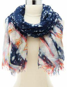 galaxy & stars print scarf