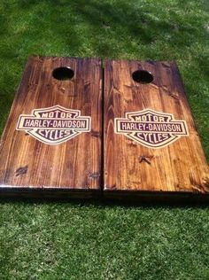 Harley Davidson News Small Woodworking Projects, Diy Woodworking, Wood Projects, Craft Projects, Outdoor Projects, Project Ideas, Harley Davison, Diy Cornhole Boards, Cornhole Set