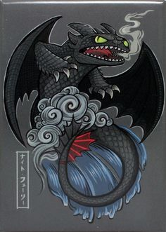 Japanese Stylized Toothless Magnet - THATWEBSTORE
