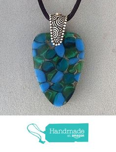 Blues and Greens Pebble Style Fused Glass Pendant Necklace .999 Fine Silver over lead free Pewter Pinch Bail - Ready to Ship A2950 from Lolas Glass Pendants http://www.amazon.com/dp/B015WT967G/ref=hnd_sw_r_pi_dp_ul.mwb11CMR25 #handmadeatamazon