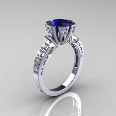 Modern Antique 14K White Gold 1.0 Carat Blue by artmasters on Etsy, $1,459.00