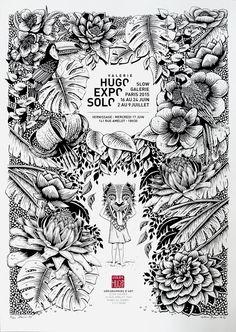 Expo / Solo / Valerie Hugo / Pub / Affiche / Publicité / Poster / Black and White / Illustration