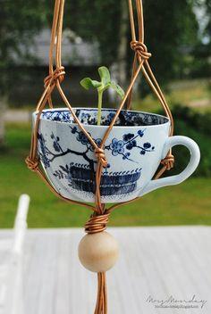 DIY: copper leather macrame hanging garden