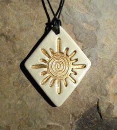 new mexico sun ceramic pendant necklace jewelry clay rob drexel #jewelrynecklaces