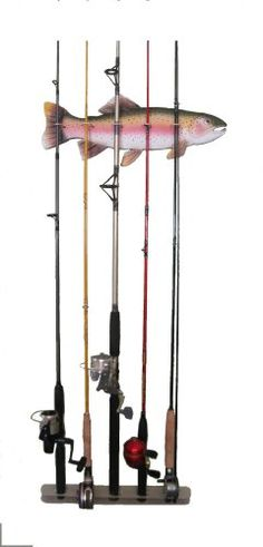 Trout Fishing Rod Rack Display and Giveaway (ends great gift idea for fisherman man cave! Trout Fishing Rods, Fishing Rod Stand, Fishing Rod Rack, Fishing Signs, Bedroom Themes, Bedroom Ideas, Bedroom Boys, Bedroom Rustic, My New Room