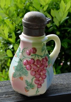 Antique hand painted milk glass grapes syrup pitcher