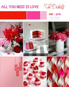 red and pink valentines inspiration board Valentine Special, Love Valentines, Valentine Crafts, Valentine Ideas, Red Wedding, Wedding Blog, Wedding Ideas, Wedding Cake, Pink Table Decorations
