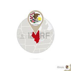 Mapa del estado de Illinois de Estados Unidos y la bandera en círculo. Mapa del pin de la bandera de Illinois, Illinois. Mapa de Illinois en el estilo del globo. Ilustración del vector.