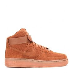 Nike Nike Air Force 1 Suede High-Top Sneakers (179 AUD) ❤ liked on Polyvore featuring shoes, sneakers, tan sneakers, nike, high top suede shoes, tan suede shoes and nike footwear