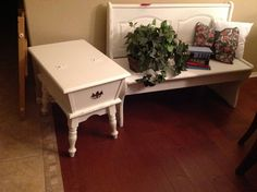 Bench & Side table made shabby By Shelly Nemeth @ Gilbert Boutique By Shelly
