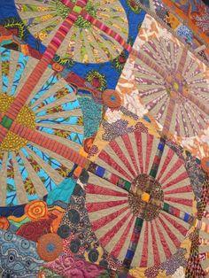 detail of Dandelions by Kathleen McLaughlin, quilted by Debbie Loeser