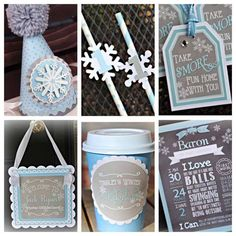 Boy Winter ONEderland / Wonderland First / 1st Birthday Party Decorations.  6-piece.  Blue/gray/silver/white party decor.  Any age. by CharmingTouchParties on Etsy