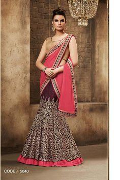 Maroon Bhagalpuri silk Bridal Lehenga Saree