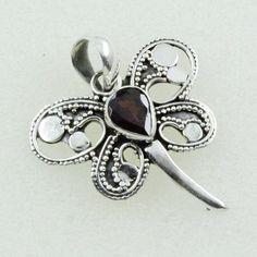 BREATH TAKING DESIGN !! Garnet Stone Butterfly Design 925 Sterling Silver Pendant _ Jaipur Silver India by JaipurSilverIndia on Etsy