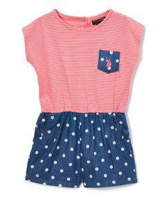 Coral Stripe & Dots Romper - Infant Toddler & Girls