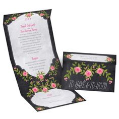 painted roses seal and send wedding invitation | budget wedding invites at Invitations By Dawn