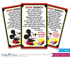 Items similar to Mickey Mouse Book Request Card for Boy Baby Shower in Red, Black, Red,Yellow, Book instead of a card - ONLY digital file - you print on Etsy Baby Shower Prizes, Baby Shower Party Favors, Baby Shower Cards, Baby Shower Themes, Baby Boy Shower, Baby Shower Invitations, Shower Ideas, Mickey Mouse Party Favors, Mickey Mouse Baby Shower