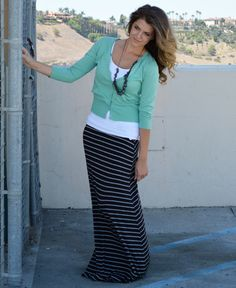 Black with Small Grey Stripes - not maxi but pencil skirt, white tank and teal cardigan
