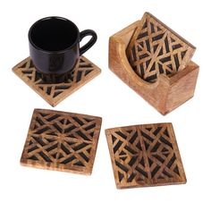 Christmas Thanksgiving Gifts Geometric Themed Set of 4 Wooden Square Drink Coasters for Tea Coffee Cup Beer Mug Wine Glass with Holder Bar Dining Accessory *** Stop everything and read more details here! : Christmas Decorations