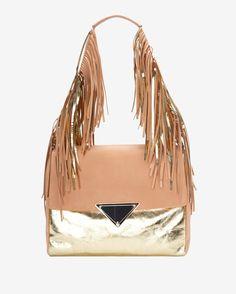 Sara Battaglia Colorblock Fringe Shoulder Bag: Gold/Peach