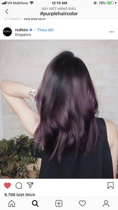 """Proof That """"Eggplant"""" Is the Hair Color Trend That Looks Sexy on Everyone — POPSUGAR Beweis, dass """"Aubergine"""" der Haarfarbentrend ist, der auf jedem sexy aussieht Eggplant Colored Hair, Eggplant Hair, Coloured Hair, Aubergine Hair Color, Winter Hairstyles, Pretty Hairstyles, Updo Hairstyle, Bride Hairstyles, Cool Hair Color"""