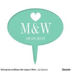 Monogram wedding cake topper | Mint green picks