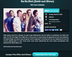 Get a chance to #win tickets to the sold out #RaRaRiot show on Sunday, March 27th http://r.thrl.cl/dt.c.znz