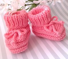 Baby Girl Booties, Pink Baby Booties, Hand Knitted Baby Booties, Pink Crib Shoes, Baby Girl Slippers, Newborn Girl Booties, Baby Shower Gift by FirstStepBabyBooties on Etsy