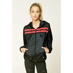 Forever21 Active Windbreaker Jacket ($20) ❤ liked on Polyvore featuring activewear, activewear jackets, athletic sportswear, forever 21 activewear and forever 21