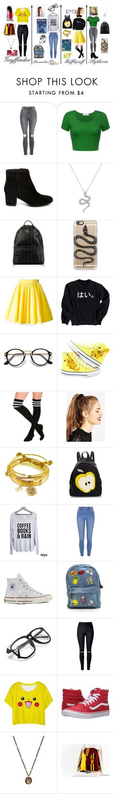 """""""Back to school Harry Potter style :)"""" by mynameisblrryface ❤ liked on Polyvore featuring Topshop, Steve Madden, MCM, Casetify, Philipp Plein, Hai, ASOS, Fendi, River Island and Converse"""
