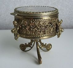 Vintage Brass ORMOLU Beveled Glass JEWELRY CASKET Box CHERUBS 3 FOOTED Trinket