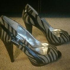 Peep toe heels Cute striped heels naughty monkey Shoes Heels