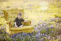 Dallas Family Baby Photographer | Bluebonnets, 6 month boy chair