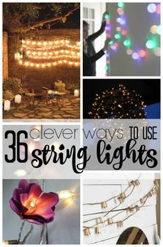 String lights are an inexpensive way to dress up so many areas in the home… Porch String Lights, String Lights In The Bedroom, Outdoor Party Lighting, Porch Lighting, Lighting Ideas, Party Lights, Floating Candles, Diy Party Decorations, Solar Lights