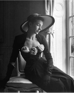 Denise Duval, French opera singer, wearing a Christian Dior dress trimmed with plush roses, photo by Pat English, Paris, 1947  (Photo by Pat English//Time Life Pictures