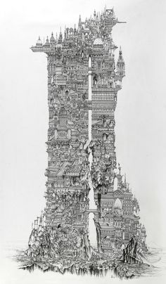 The world's best architecture drawings. Fantasy City, Fantasy Kunst, Environment Concept Art, Environment Design, Zentangle, Art Sketches, Art Drawings, Illustrations, Illustration Art