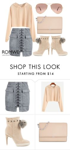 """ROMWE Apricot Crop 1 - 06112016"" by filmaandry ❤ liked on Polyvore featuring WithChic, BCBGMAXAZRIA, Michael Kors and Ray-Ban"