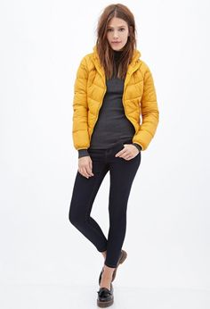 Love this yellow puffer jacket.