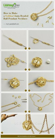How to Make a Golden Chain Beaded Ball Pendant NecklaceBrush up on your wire wrapping skills and use this DIY wire wrapped pearl tutorial from PandaHall to create a beautiful pearl pendant.This Pin was discovered by ZulPandahall Usstock Beads, Beads Seed Bead Jewelry, Bead Jewellery, Wire Jewelry, Jewelry Crafts, Jewlery, Diy Schmuck, Schmuck Design, Do It Yourself Schmuck, Diy Necklace