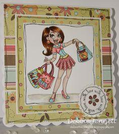 "Redonkadoodles.com - ""Shopping Diva"" Digital Stamp - Handmade Card Design By: Deb Jennett"