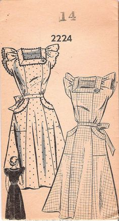 1940's Mail Order 2224 Sewing Pattern Pinafore or Dress with Flutter Sleeves and Pockets, offered on Etsy by GrandmaMadeWithLove